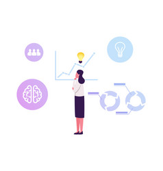Thoughtful business woman with glowing light bulb vector