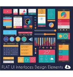 UI Flat Design Elements for Web Infographics vector image