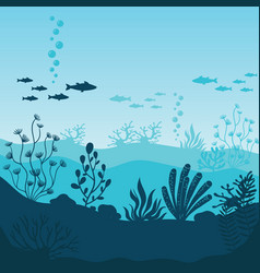 Undersea world underwater ocean fauna vector