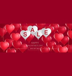 valentines day saletemplate bannerhearts vector image