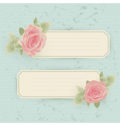 Vintage card with roses and border vector image