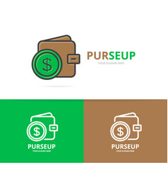 wallet logo unique purse and bank vector image