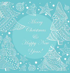 White christmas fir trees and toys on blue vector
