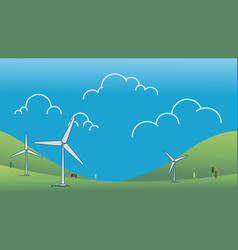 wind power turbine on hill with sky vector image