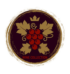 wine label with grape and leaves vector image