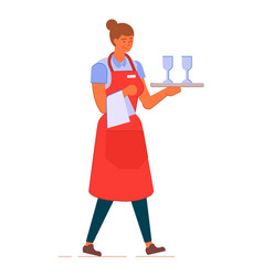 Woman waitress in apron holding tray with vector