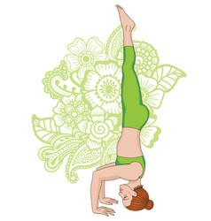 women silhouette tripod headstand yoga pose vector image