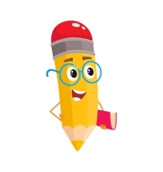 Yellow cartoon pencil in nerdy glasses telling vector image