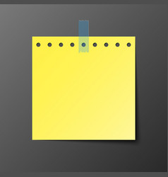 yellow post note paper with shadow vector image