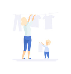 Young woman hanging wet clothes out to dry little vector