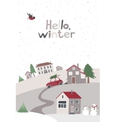 Village on the hill in winter time vector image vector image