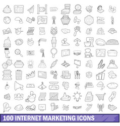100 internet marketing icons set outline style vector image vector image