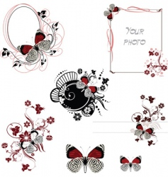 frames red and white butterfly vector image