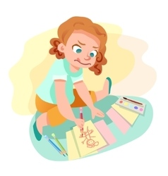 Girl drawing on paper vector image vector image