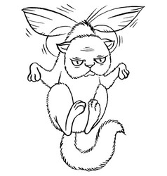Sly cartoon cat flying on wings vector