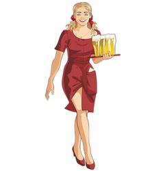 waitress blond beer restaurant vector image vector image
