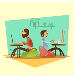 Coworking Cartoon Set vector image vector image