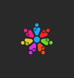 teamwork logo emblem of a community of motivated vector image