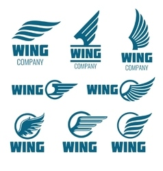 Abstract wings logo set for delivery cargo vector image vector image
