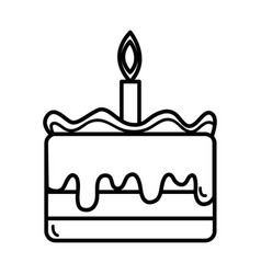 Line tasty cake desset with candle to eat vector