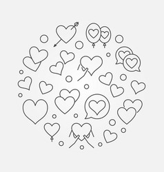 lots of hearts in round shape line vector image
