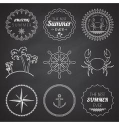Set of 9 design summer elements frames borders vector image vector image