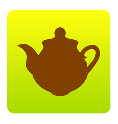 tea maker sign brown icon at green-yellow vector image vector image