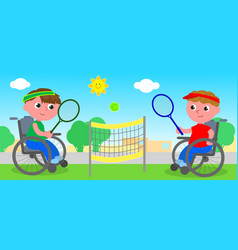 wheelchair tennis match vector image vector image