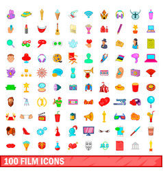 100 film icons set cartoon style vector