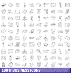 100 it business icons set outline style vector image