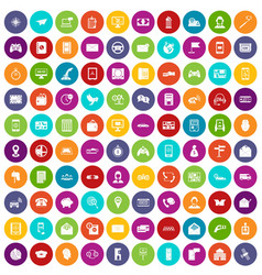 100 telephone icons set color vector image