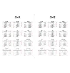 2017 year and 2018 calendar page Simple vector