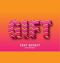 3d red with wavy lines style text effect vector image