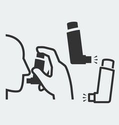 A hand holding inhaler at head and isolated vector