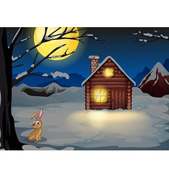 A rabbit outside the house in a moonlight scenery vector