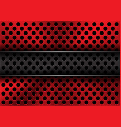 abstract metal grey banner on red circle mesh vector image