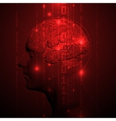 Active Human Brain with Binary digits vector image