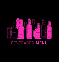 alcohol menu with bottles vector image