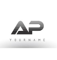 ap black and white horizontal stripes letter logo vector image