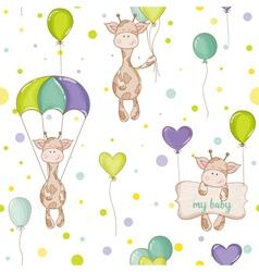 Baby Giraffe Background Seamless Pattern vector image