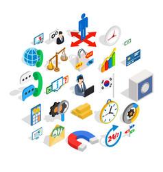 big business icons set isometric style vector image