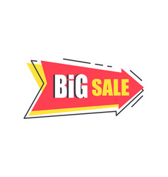 big sale arrow shape sticker discounts pointer vector image