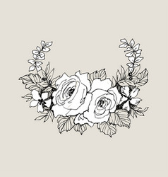 Blooming flower hand drawn blossom branches with vector