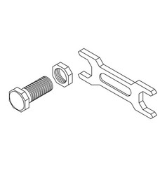 bolt with nut and spanner outline drawing vector image