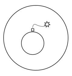 bomb icon black color in circle vector image