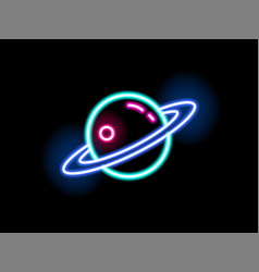 Bright neon light saturn shape flat vector