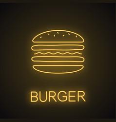 Burger cutaway neon light icon vector