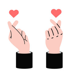 Business hands making mini heart love sign symbol vector