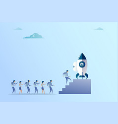 business people group sitting in launching space vector image