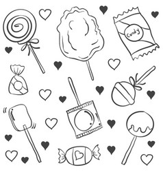 candy various hand draw doodles vector image